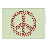 Símbolo de paz de la mariquita tarjeta