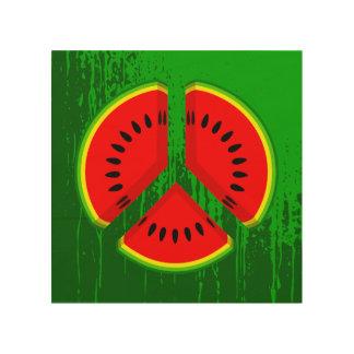 Símbolo de paz de la sandía cuadro de madera