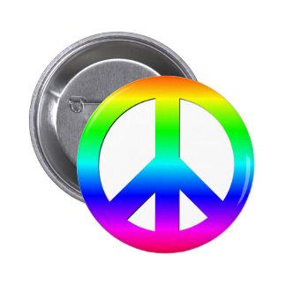 Símbolo de paz de neón brillante del arco iris CND Chapa Redonda De 5 Cm