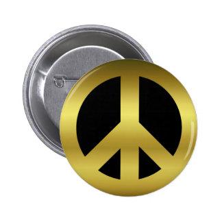 Símbolo de paz de oro de CND en negro Chapa Redonda De 5 Cm