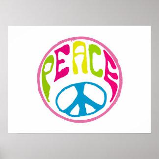 Símbolo de paz del Hippie Póster