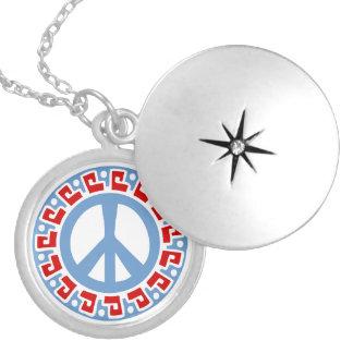 Símbolo de paz del hippy 60s con la frontera medallón