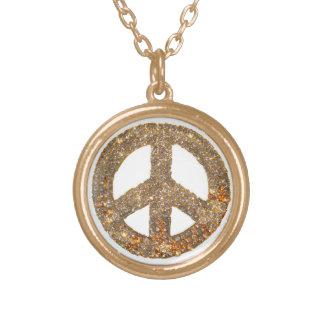 Símbolo de paz del oro colgante redondo