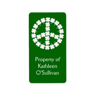 Símbolo de paz del trébol etiqueta de dirección