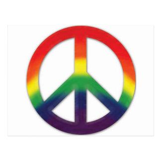 Símbolo de paz en colores del arco iris postal
