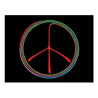 Símbolo de paz espiral de neón postal