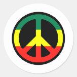 ¡Símbolo de paz para el mundo! Etiquetas Redondas