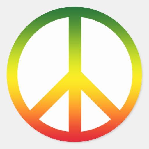 Símbolo de paz Rasta Pegatina Redonda