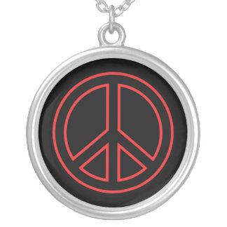 Símbolo de paz rojo colgante redondo