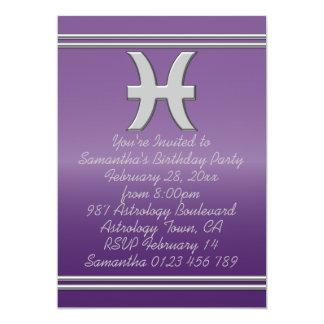 Símbolo de Piscis en cromo en fiesta de cumpleaños Invitación 12,7 X 17,8 Cm