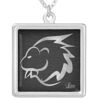 Símbolo de plata del zodiaco de Leo Colgante Cuadrado