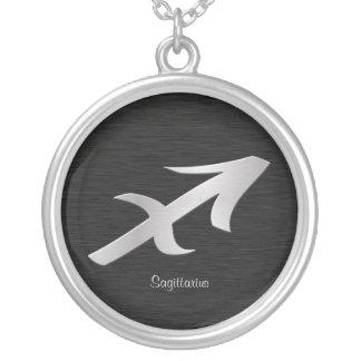 Símbolo de plata del zodiaco de Saggitarius Colgante Redondo