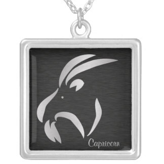 Símbolo de plata del zodiaco del Capricornio Colgante Cuadrado