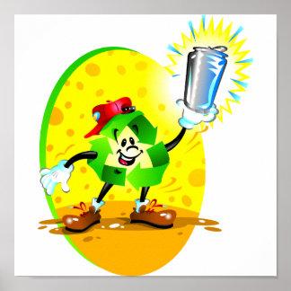Símbolo de reciclaje animado con la poder de alumi póster