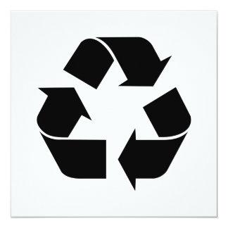 Símbolo de reciclaje negro invitación 13,3 cm x 13,3cm