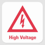 Símbolo del alto voltaje del peligro calcomanías cuadradas