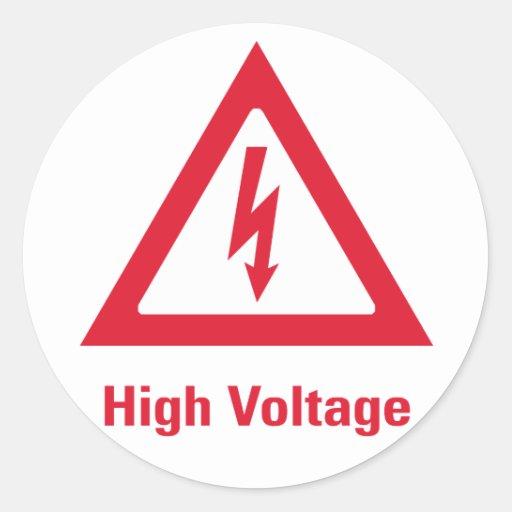 Símbolo del alto voltaje del peligro pegatinas redondas