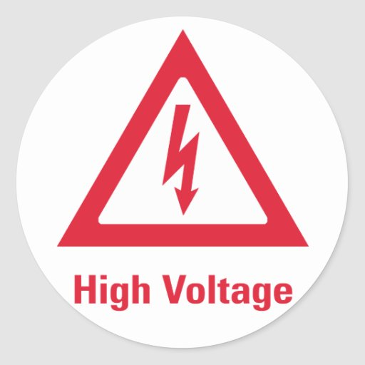 Símbolo del alto voltaje del peligro pegatinas