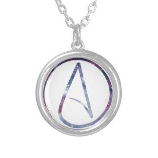 Símbolo del ateo del espacio collar plateado