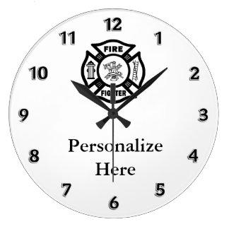 Símbolo del departamento del fuego del bombero reloj redondo grande