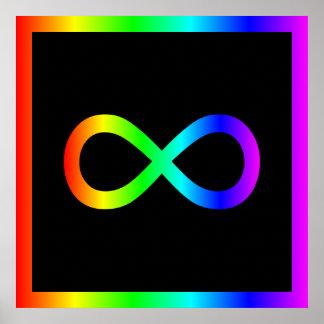 Símbolo del infinito del arco iris poster