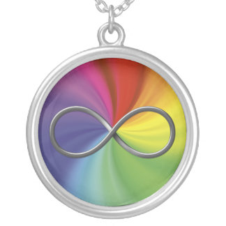 Símbolo del infinito en espiral del arco iris colgante redondo