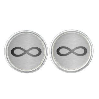 Símbolo del infinito en falsa textura del metal gemelos