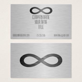Símbolo del infinito en falsa textura del metal tarjeta de visita