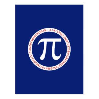 Símbolo del pi en círculo en azules marinos postal