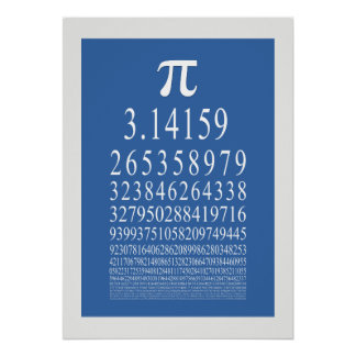 Símbolo del pi mucho número del dígito póster