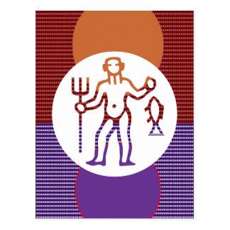 Símbolo del zodiaco de la astrología de PISCIS Postal