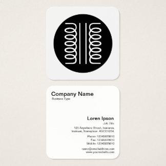 Símbolo eléctrico del transformador - blanco y tarjeta de visita cuadrada