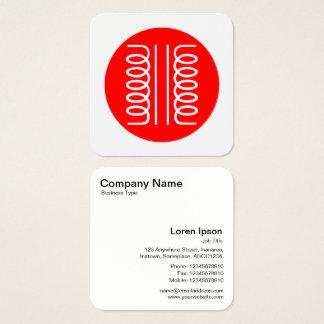 Símbolo eléctrico del transformador - rojo y tarjeta de visita cuadrada