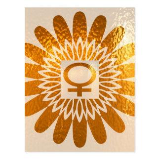 Símbolo femenino del icono: Energía de oro del gir Postales