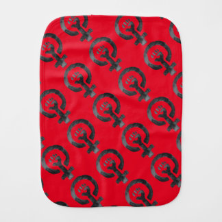 Símbolo feminista del puño (rojo) paños de bebé
