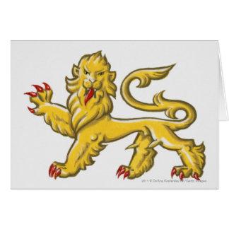 Símbolo heráldico de guardant statant del león tarjeta de felicitación
