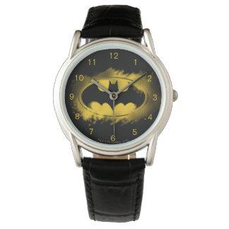 Símbolo logotipo negro y amarillo del | de Batman Reloj