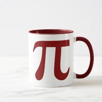 Símbolo marrón del pi taza