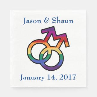Símbolo masculino del género del orgullo gay de servilletas desechables