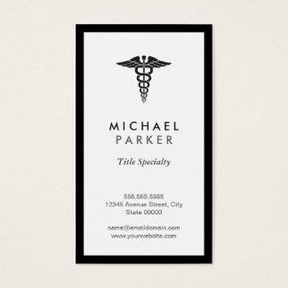 Símbolo médico del caduceo - blanco y negro retro tarjeta de negocios