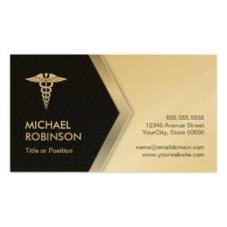 Símbolo médico del caduceo de oro del oro - tarjetas de visita