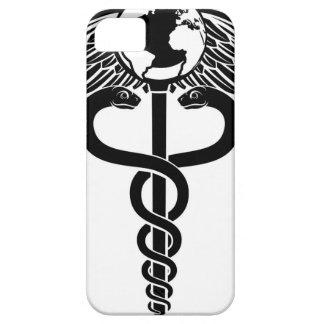 Símbolo médico del caduceo del globo funda para iPhone SE/5/5s