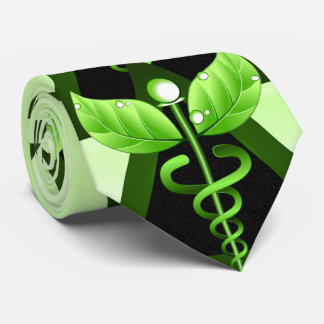Símbolo médico del caduceo del verde de la corbatas