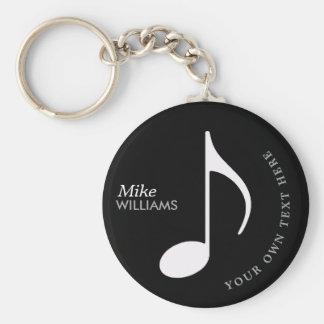 símbolo musical en llavero negro con nombre