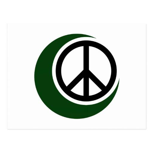 Símbolo musulmán islámico con el signo de la paz tarjetas postales