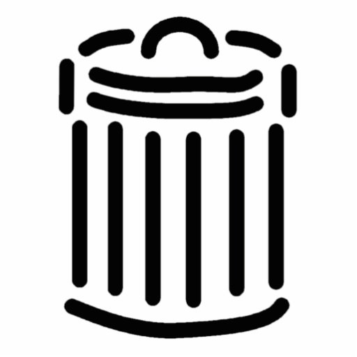 Símbolo negro del bote de basura