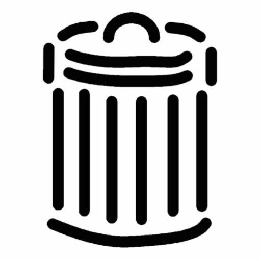 Símbolo negro del bote de basura escultura fotográfica