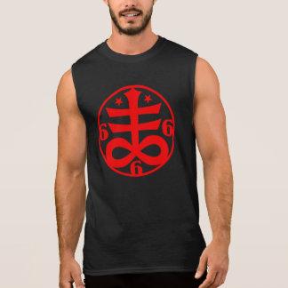 Símbolo oculto cruzado satánico rojo del gótico camiseta sin mangas