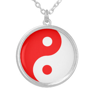 Símbolo rojo de Yin Yang Colgante Redondo