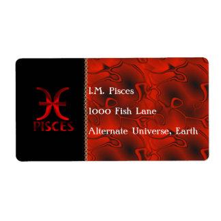 Símbolo rojo del horóscopo de Piscis Etiquetas De Envío